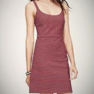 Loft Textured Pink and Black Striped Pocket Dress